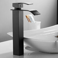 Black Waterfall Bathroom Sink Tap Basin Mixer Taps Stainless Steel Square Faucet
