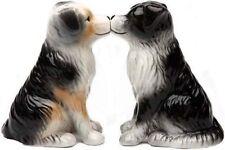 Australian Shepherd Aussie Kissing Magnetic Ceramic Salt Pepper Shakers Figurie