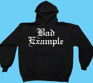 Hooded Sweat Shirt, Motor Sports, Biker, Motorcycle, Bad Example, Gildan, Black