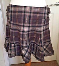 Ladies Karen Millen Tartan Check Plaid Wool Mini Skirt Brown Black Size 14 B40