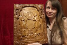 "Icon Saint Peter and Paul . 3D Art Orthodox Wooden Carved picture. 18"" size."
