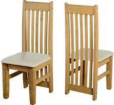 Seconique Tortilla Distressed Wax Pine Set of 2 Cream PU Dining Chairs Only
