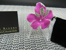 JOAN RIVERS PINK ENAMEL AND CRYSTAL SILVER FLOWER BROOCH PIN NEW AND BEAUTIFUL