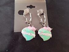 Lollipos jolies boucles d'oreille en forme de coeur en émail vert chat rose neuf