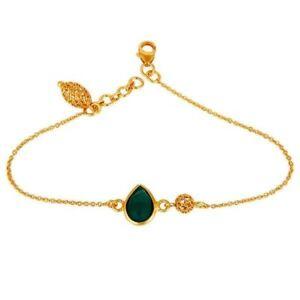 22K Yellow Gold Plated Sterling Silver Green Onyx Designer Chain Bracelet