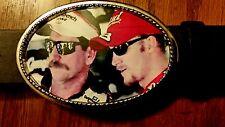Dale Earnhardt Sr.#3 & Dale Earnhardt Jr #88 Epoxy Buckle & Black  Leather Belt