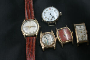5 Hamilton Bulova Trench Watch Art Deco Engraved Vintage Watches for Repair