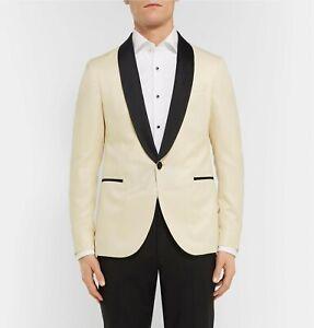 Hugo Boss Men's 'Nemir' Slim Fit Off White Wool & Silk Tuxedo Jacket Blazer 36R