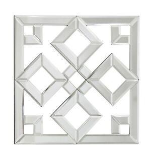 Value 40cm Square Geo Mirror Glass Mirrored Decoration Geometric Decor Wall Art