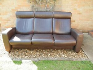Stressless 'Arion' 3 Seater Sofa in Chocolate Brown