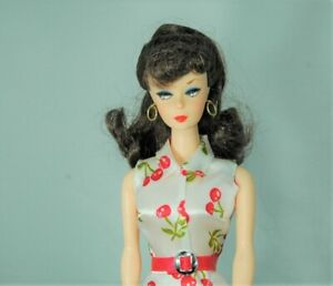 Barbie Doll Vintage Repro #1 redressed in cherries dress w/shoes holes in feet