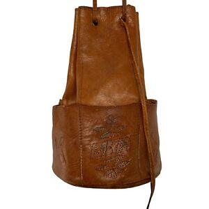 Vintage 1960's Brown Libya Leather Drawstring Tool Slot Stand Up Shoulder Bag