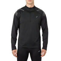Asics Mens Icon Winter Long Sleeve 1/2 Zip Running Top Black Sports Half