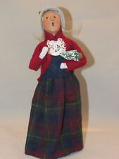 Vintage 1994 Byers Choice Carolers Woman Holding Christmas Tree Signed #52/100