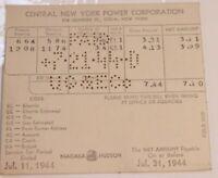 Vintage Central New York Power Company Invoice Bill July 31 1944 Utika