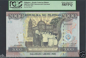 Philippines 2000 Pesos 1998 P189s Specimen About Uncirculated