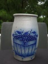"Salmon Falls Stoneware Blueberry Basket Crock Vase 6 3/4"" 1988 EXC"