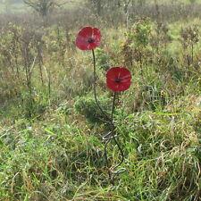 Handcrafted 2 poppies flower on rustic iron garden art stake sculpture poppy