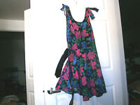 Women/youth Joni Blair mid long flair skirt w belt dress sz 11 floral cotton