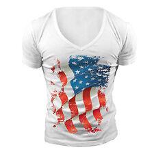 Profundo cuello en V T-Shirt EE. UU. Flag Geordie Shore Towie American Muscle Top