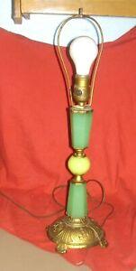 Vintage Art Deco Jadeite Topaz Vaseline Uranium Houze Glass Table Lamp Works