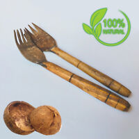 Coconut Shell Fork Spoon  100% Natural Handmade Eco Friendly Cooking Tool Food