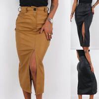 USA Women Faux Leather Midi Skirt Wet Look Vintage High Waist Slit Pencil Skirts