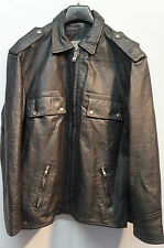 VINTAGE 70'S STRATOCASTER ITALIAN POLICE  LEATHER MOTORCYCLE JACKET SIZE M