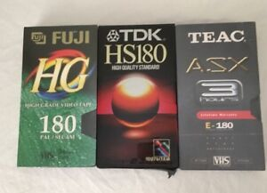 3 Blank VHS Video Tapes 3 Hour Tapes Fuji TDK Teac Brand New & Sealed