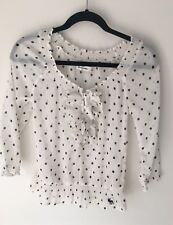 Abercrombie And Fitch Girls Ivory With Polka Dots Fancy Shirt  Kids Size XL New