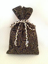 Tarot Card Bag, Black and Gold with Silver Tone Beads and a Tri color Cord