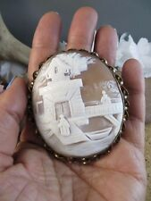 Large Antique Victorian Carved Shell Scenic Cameo Gold Filled Brooch Pin #445