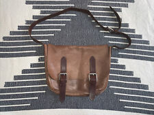 Made in USA unisex brown Horween Chromexcel leather messenger bag