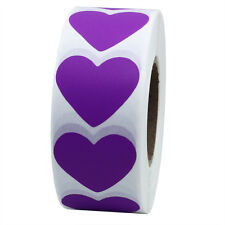 Purple Color Coding Dot Labels 30mm Love Heart Stickers Adhesive Label