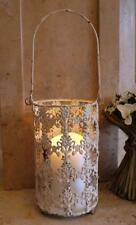 Large Metal Lantern Candle Holder / Hanging Lantern / Shabby Chic Cream