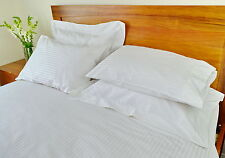 Queen Bed Fitted Sheet+Quilt/Duvet Cover Set 1000TC Pure Cotton White Stripe