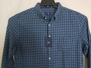 GANT - Men's Blue Indigo Slim Fit Mini Plaid Shirt 364169  Size XXL  -  $125 NWT