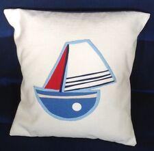 """BIANCO Blu Barca Design Applique NAUTICO cotone Cuscino Coperture MARE 16"""" 40cm BN"""