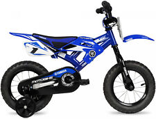 Kids Bike Blue 12 Inch BMX For Boys Motocross Style With Training Wheels