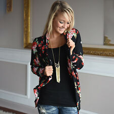 Women's Floral Outwear Irregular Long Sleeve Wrap Cardigans Coat Tops Plus Size