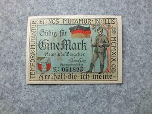 Denmark City Broager Plebiscit Schleswig-Holstein Notgeld 1 Mark 1919