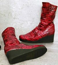 Arche wedge boots patent leather black red bootie size 40 us 9