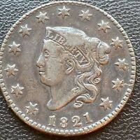 1821 Large Cent Coronet Head One Cent 1c Better Grade VF - XF #23952