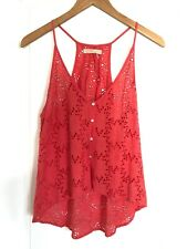 Free People pink eyelet tank with button-up detail sz Small