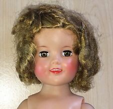 """Ideal 17"""" Vinyl Shirley Temple Doll - For Parts / Restore - Beautiful Face 1950s"""