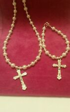 Necklace and bracelet set for first holy communion,  Christening and wedding