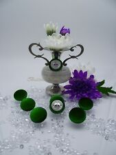 """Velvet Fabric Covered Buttons Deep Green """"ENGLAND"""" Metal color Silver size 23mm"""