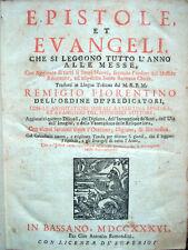 1736 REMIGIO FIORENTINO, EPISTOLE ET EVANGELI, CHIESA CATTOLICA LIBRI ILLUSTRATI