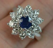 Stunning Sapphire & 1.7ct Diamond Platinum Cluster Ring