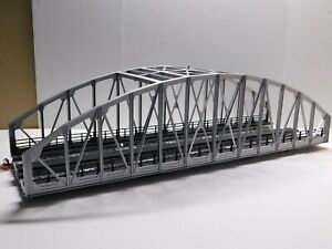 O Scale - MTH 2-Track Gray Steel Arch Bridge For Model Train Layout NICE!